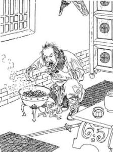 豫讓又在身上塗漆,讓皮膚長滿瘡,又吞木炭使自己聲音變得沙啞,令自己的樣子令人無法辨認,就算他的妻子也不能識別他,豫讓便在市上作乞丐。