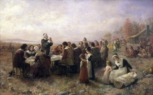 (Jennie Augusta Brownscombe, The First Thanksgiving at Plymouth, 1914)